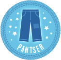 When I left my outline behind to write seat-of-the-pants, I earned this pantser badge from NaNoWriMo (meaning I write seat-of-my-pants!)