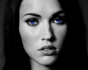 brunettes women megan fox blue eyes actress celebrity selective coloring faces 1280x1024 wallpape_www.wall321.com_29